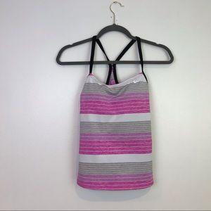 Nike NEW womens Swim tank racerback striped pink g